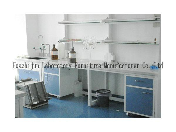 Ph School Lab Furniture High Adjustable Lab Table With Reagent Shelf And Power Supply